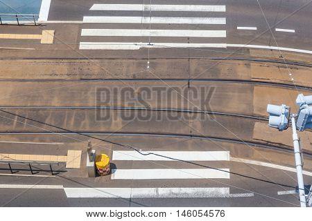 Pedestrian crosswalk at hakodate tram station in Hakodate Hokkaido Japan.
