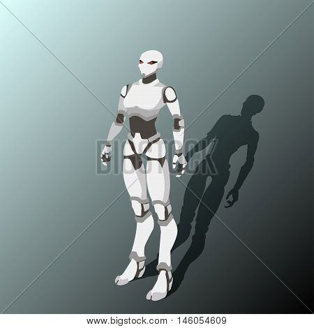vector illustration of a white woman robot