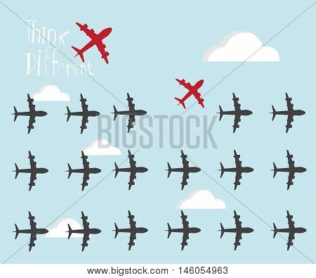 red airplanes going different ways think different concept vector illustration