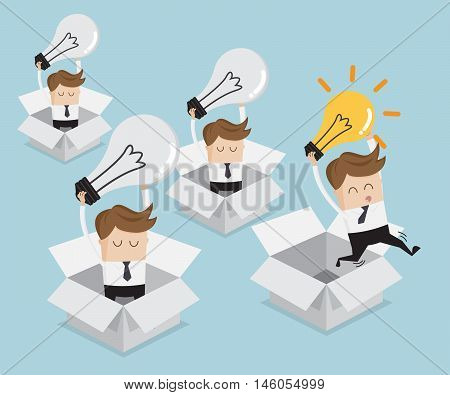 think outside the box concept think different businessman and bulb idea jump from the box and businessman do not have idea in box