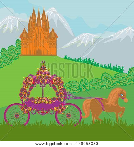 horse carriage and a medieval castle , vector illustration