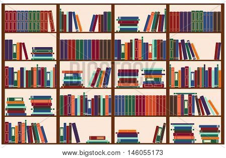 Wooden bookshelf with color books, vector illustration