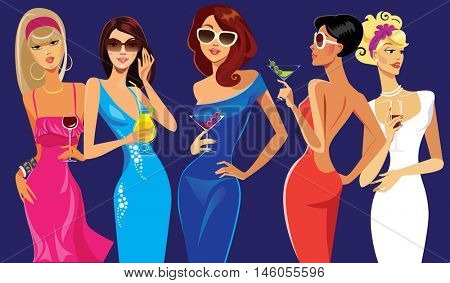 glamorous lady cocktail, party, evening dresses