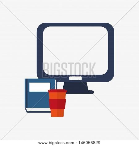 flat design computer monitor with disposable coffee cup and book office and telecommunication icons vector illustration