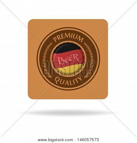 Vector square beer mat or bierdeckel with bottle cap and flag of Germany. Isolated on white.
