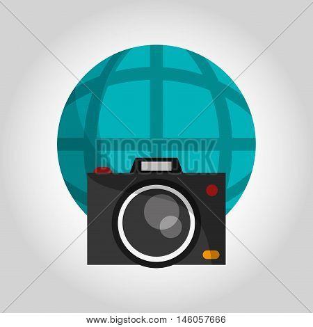 photographic camera and earth globe diagram icon vector illustration