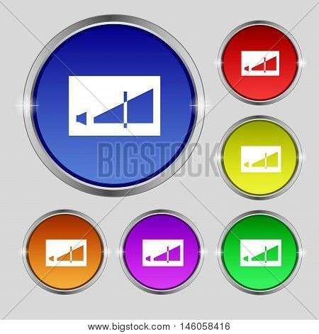 Volume Adjustment Icon Sign. Round Symbol On Bright Colourful Buttons. Vector