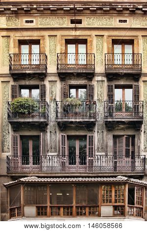 Typical Art Nouveau building in Barcelona Spain