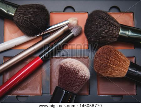 closeup Makeup brushes and rouges. Female cosmetics