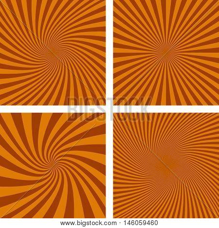 Brown vector spiral ray design background set.