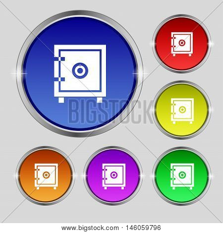 Safe Money Icon Sign. Round Symbol On Bright Colourful Buttons. Vector