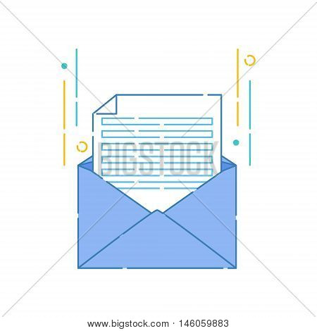 Vector illustration of an open envelope with blank white sheet of paper on white background. Correspondence personal communication email and spam concept design. Mail icon made in linear style.