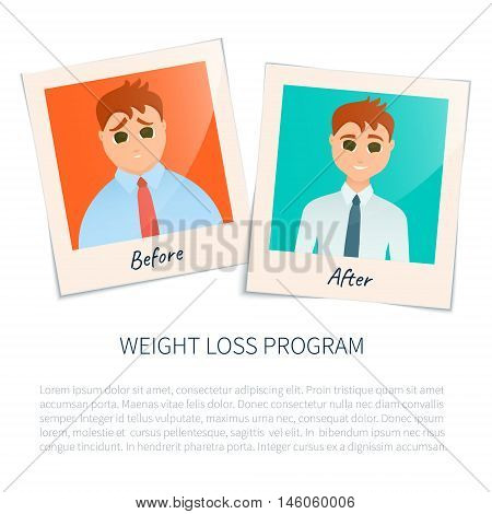 Vector illustration of two photographs of a man before and after weight loss. Perfect body symbol. Successful diet and weight loss concept. Perfect for fitness gyms and health magazines.