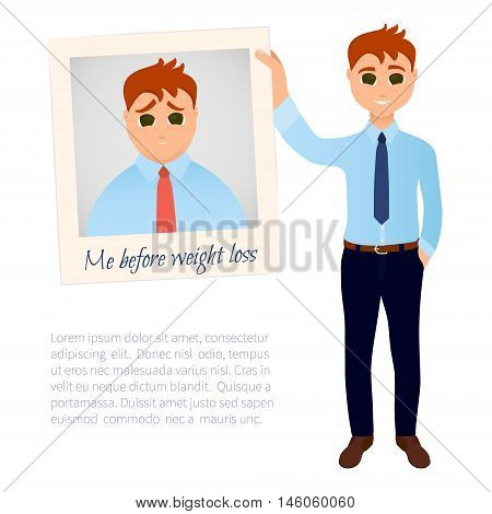 Slim man in good shape showing his old photo before weight loss. Obesity versus perfect body symbol. Successful diet and weight loss concept. Cartoon characters. Vector illustration.