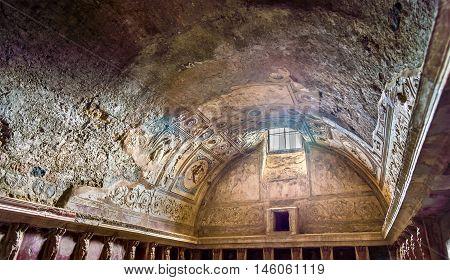 Interior of Stabian baths Terme Stabiane in Pompeii, Italy