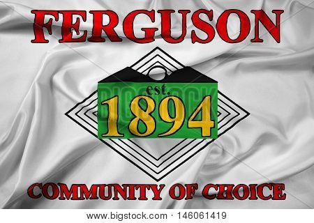 Waving Flag of Ferguson Missouri USA, with beautiful satin background. 3D illustration
