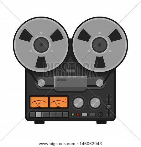 Vintage Analog Stereo Reel Deck Tape Recorder. Vector illustration
