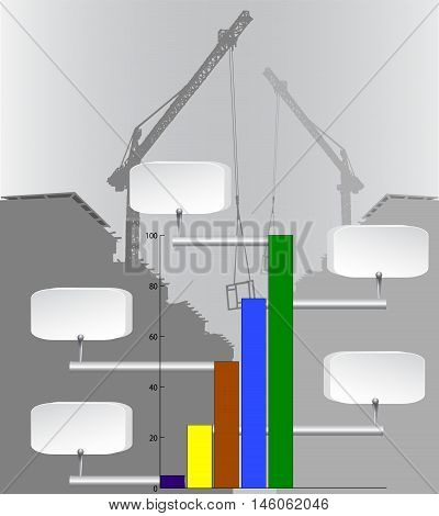 Infographics column chart with industry background and cranes. Infographics template with banners and silhouettes of cranes and buildings