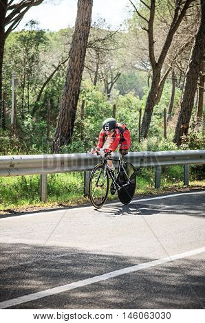 Grosseto, Italy - May 09, 2014: The cyclist without feet with the bike during sporting event