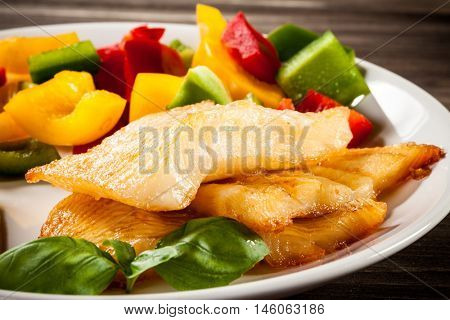 Fish dish - fried halibut and vegetables