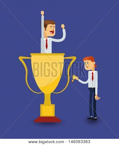 flat design businessman holding trophy and jealousy  icon vector illustration