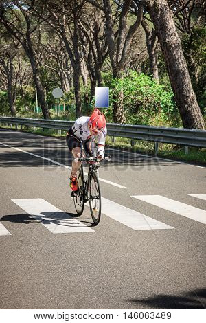 Grosseto, Italy - May 09, 2014: The disabled cyclist with the bike during sporting event