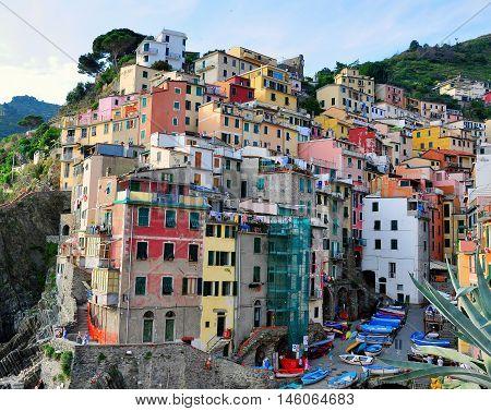 View of Riomaggiore village Cinque Terre in Italy
