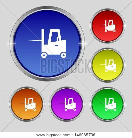 Forklift Icon Sign. Round Symbol On Bright Colourful Buttons. Vector