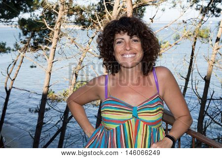 Portrait Of A Happy 40-year-old Brunette Woman