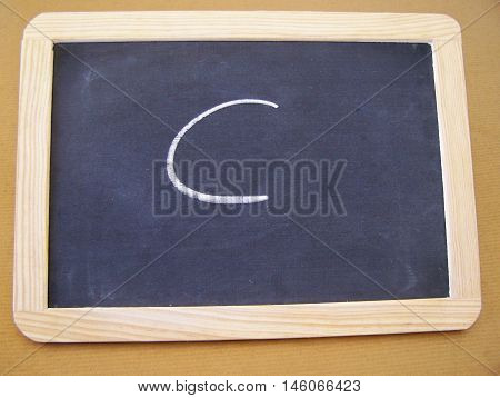 Slate used by students in the preparatory work - letter C