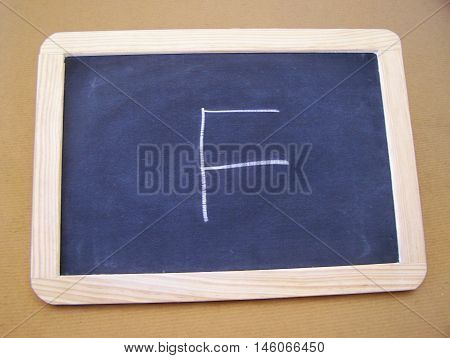 Slate used by students in the preparatory work - letter F