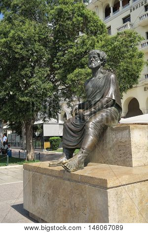Thessaloniki, Greece - September 04 2016: Statue of Aristotle at central square. The statue of Aristotle the philosopher on the main homonymous square of Thessaloniki, by the waterfront of the city.