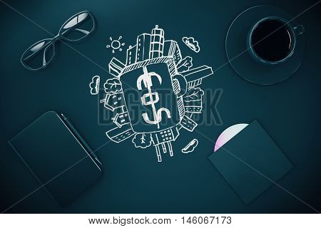 Dark desktop with cash suitcase sketch coffee cup glasses and other items. Financial growth concept. 3D Render