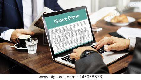 Divorce Agreement Decree Document Break up Concept
