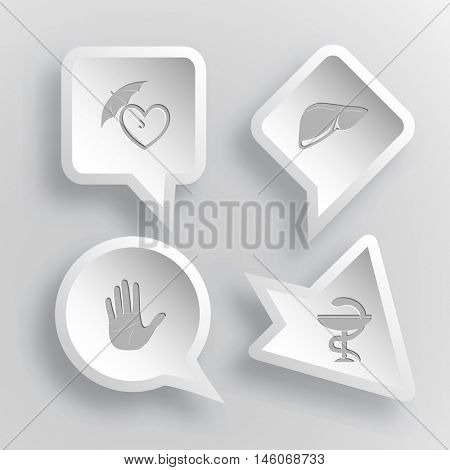4 images: protection love, liver, stop hand, pharma symbol. Medical set. Paper stickers. Vector illustration icons.