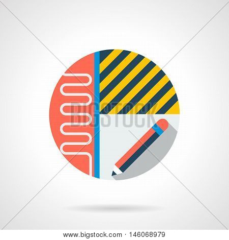 Repairs apartments symbol. Flooring project of premises and heating system. Heated floor services or business. Colored round flat design vector icon.