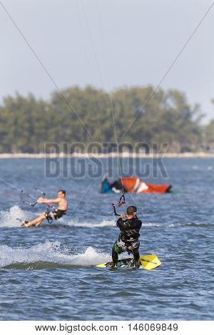 Tampa Bay Florida USA - February 28 2011: Traffic rules apply at busy kiteboarding spot on Tampa Bay