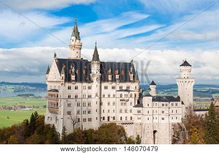 Beautiful summer view of the Neuschwanstein castle