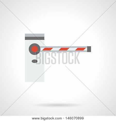 Automatic road barrier with closed striped bar. Barricades, traffic gates, stoppers and other equipment for parking, checkpoints, security sites. Flat color style vector icon.