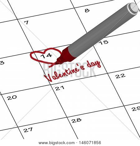 Pen Mark writing important days on February's calendar .Reminder monthly schedule. illustration.