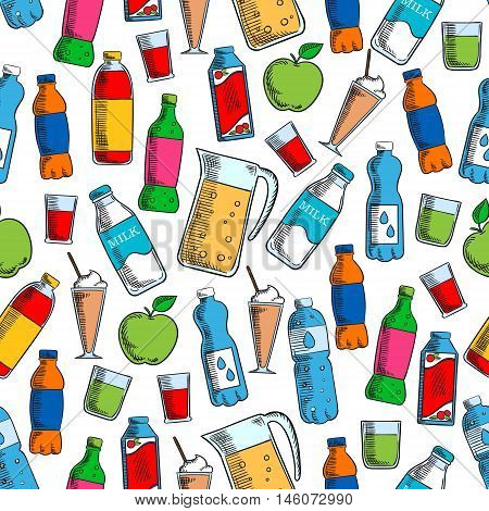 Fruit drinks and dairy beverages seamless background with pattern of juice pack, bottles of water, soft beverages and milk, milkshake in cocktail glass and pitcher of fresh lemonade