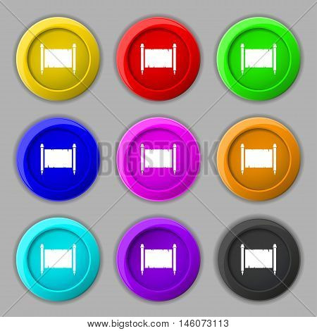 Ancient Parchment Sheet Of Paper Sign. Symbol On Nine Round Colourful Buttons. Vector
