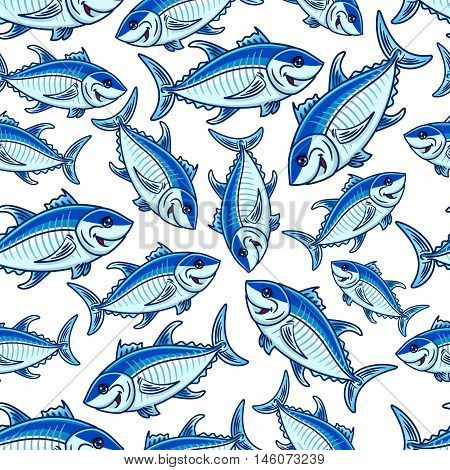 Swimming blue fishes seamless pattern with flock of cartoon atlantic tuna fishes over white background. Seafood and fishing sport themes design