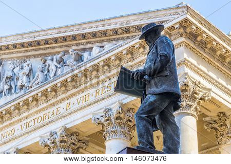 The statue of James Henry Greathead installed outside the Royal Exchange in London