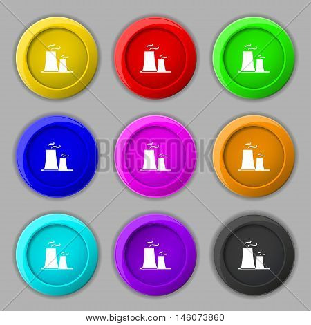 Atomic Power Station Icon Sign. Symbol On Nine Round Colourful Buttons. Vector