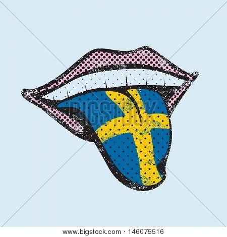 Swedish language learning. Study Swedish icon for dictionary, translator. Flag of Sweden, Stockholm for language speaking on tongue