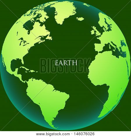 The earth with continents on a green background. Vector illustration