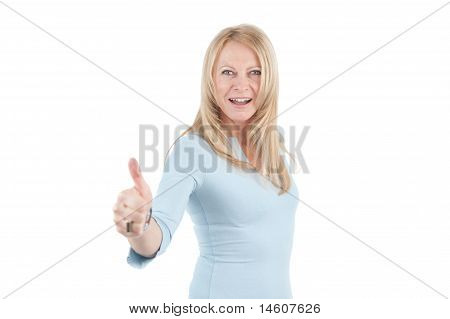 Middle Aged Woman With Thumb Up