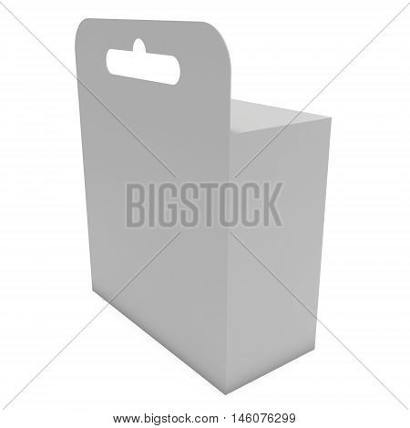 White paper hanging box large. Packaging container with hanging hole. Mock up template. 3d render isolated on white background.