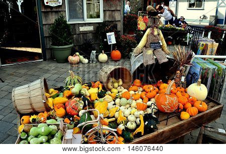 Intercourse Pennsylvania - October 13 2015: Hundreds of pumpkins and gourds provide Autumn decorations at the Kitchen Kettle Village
